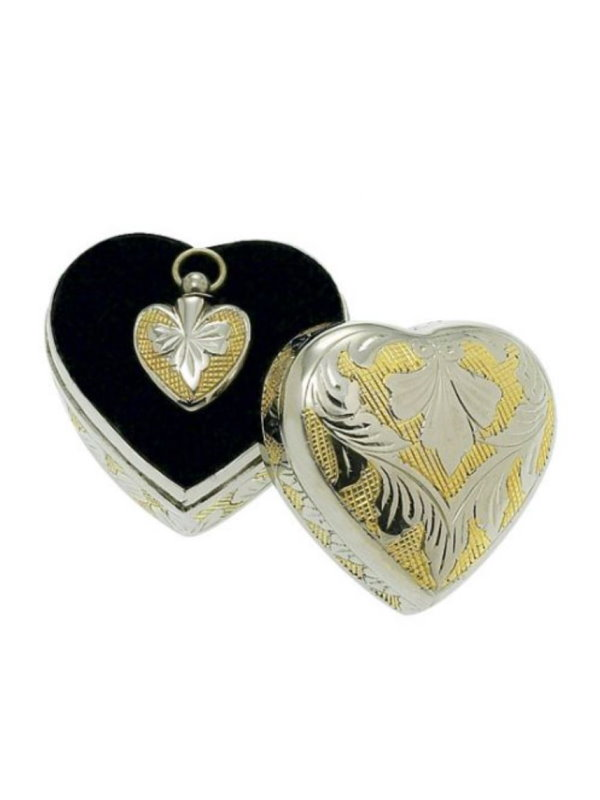 Silver/Gold Heart Pendant with Case